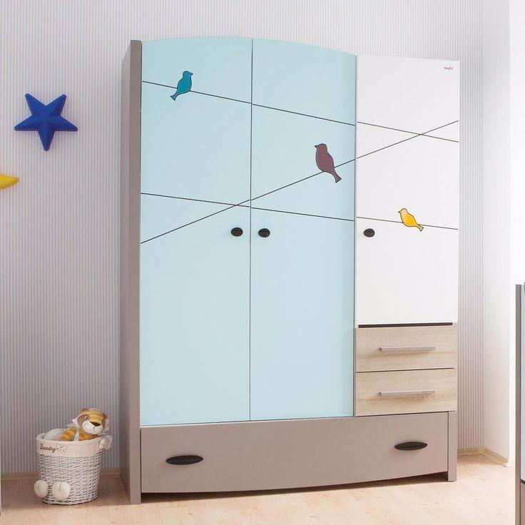 Blue Birdy Contemporary 3 Door Wardrobe With Drawers