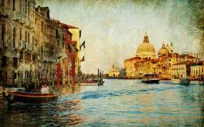 винтаж, старая фотография, Венеция, канал, лодки, дома