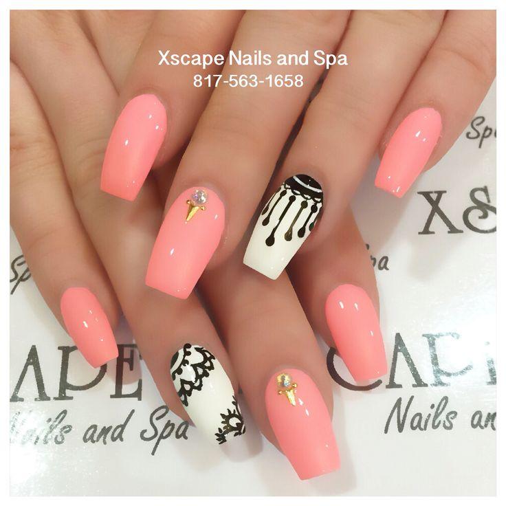 Coral coffin nails   Cute Nails Designs   Pinterest ...