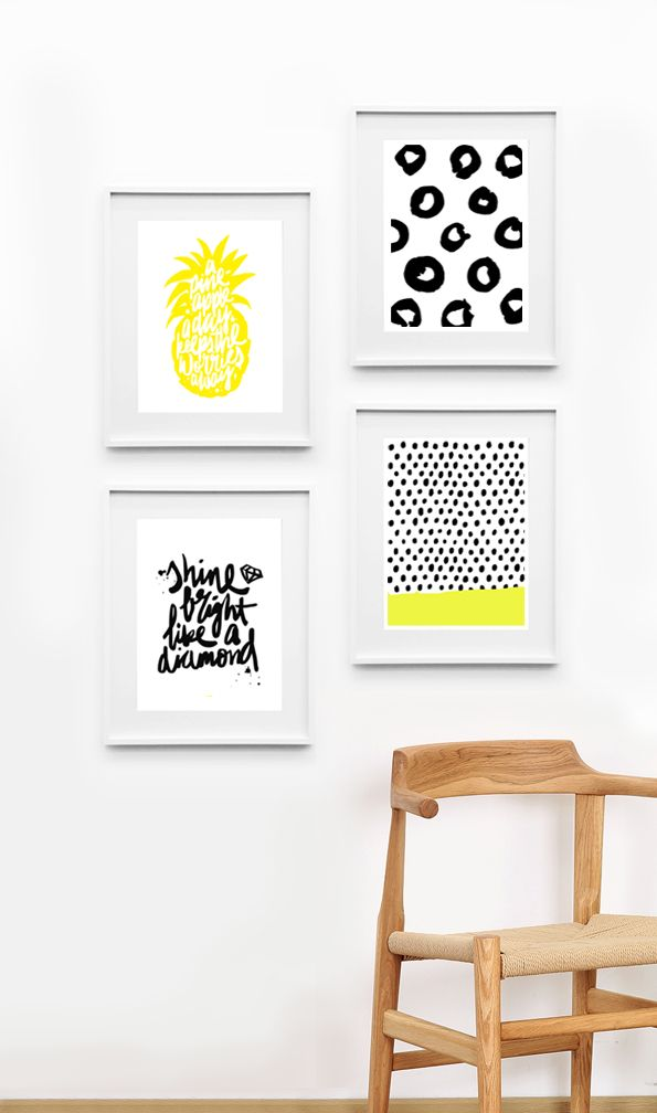 Free pineapple print download | Hand lettering by Maiko Nagao