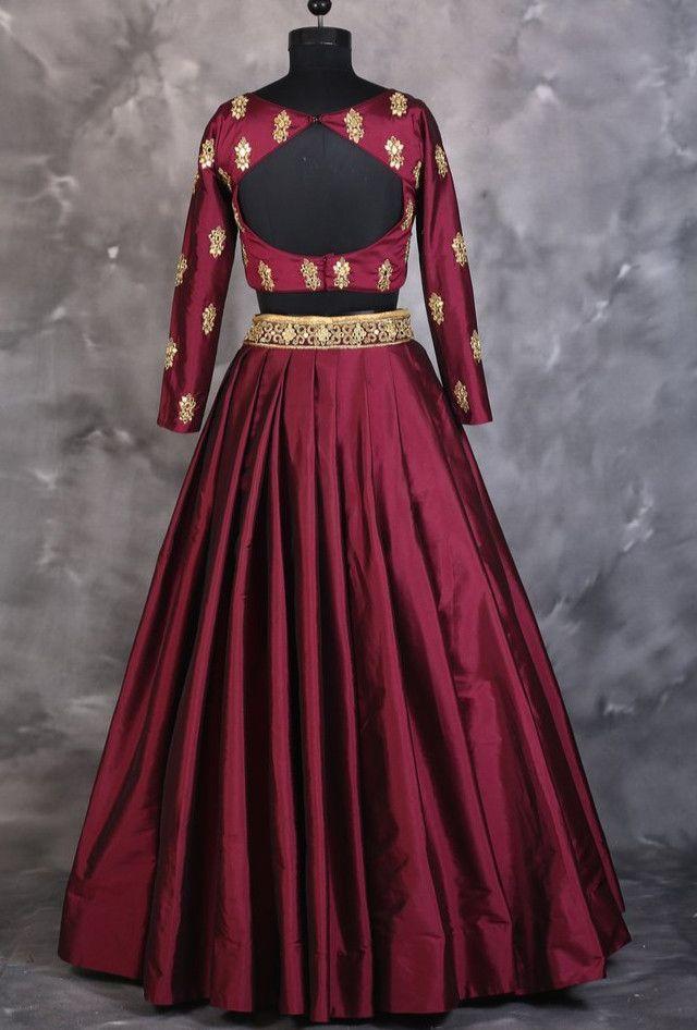 Maroon designer indian dress with dupatta - Desi Royale  - 2