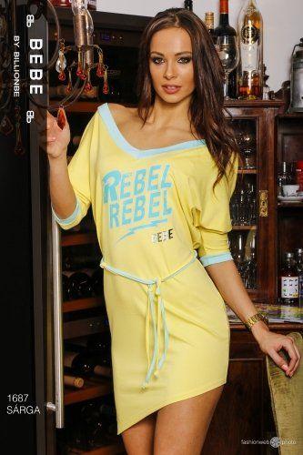 Sárga ruha - Feliratos V kivágású, fél oldalas, megkötős bebe ruha - nyári - tavaszi webáruház