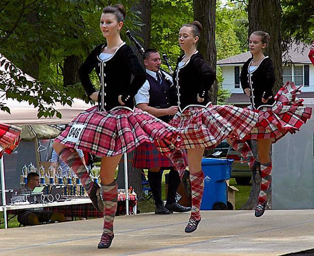 Highland dancing trio.