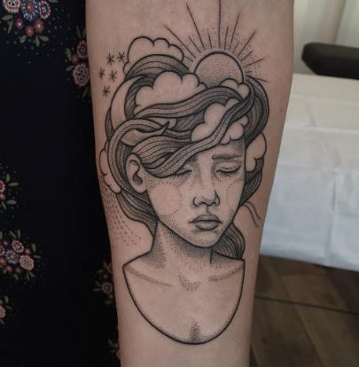 We can't get over this gorgeous dotwork portrait tattoo.