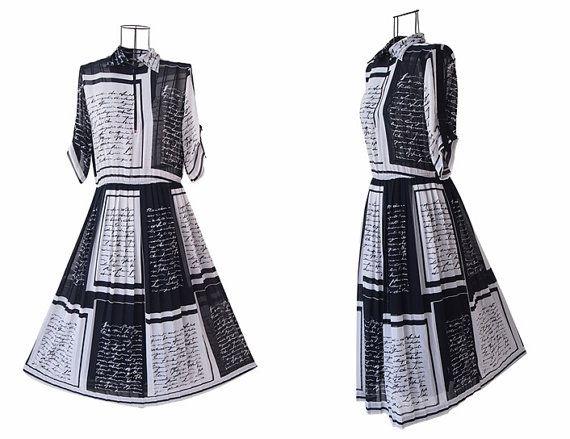 Vintage Black Dress // Short Sleeves // Shirt Collar // by LPSNUG