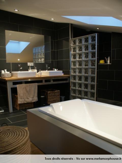Photos d coration de salle de bain moderne design noir - Salle de bain douche italienne et baignoire ...