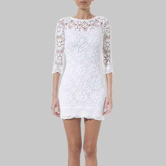 Crochet dress, trendy cocktail dress, wedding dress, designer dress, party dress, crochet PATTERN, detailed written description in English. on Etsy, $10.75