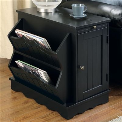 Black Accent Chairside Pull Out Cabinet Table With
