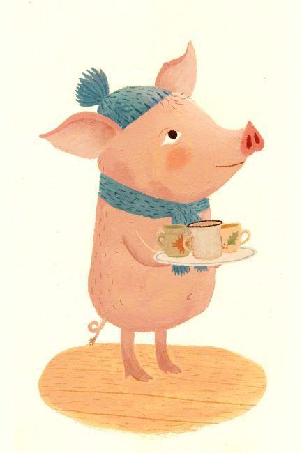Открытка танцующая свинка