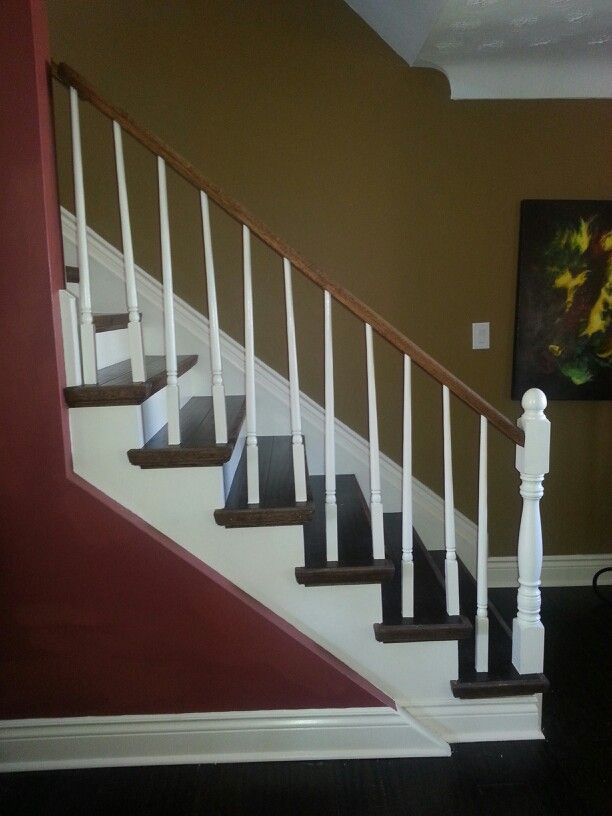 Staircase Remodel Dark Wood Flooring Is Bamboo With White