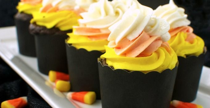 Easily create the look of tasty candy corn on top of a decadent chocolate cupcake. You don't have to make anything from scratch with this recipe!