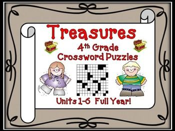 Treasures 4th Grade - We have developed these fun fourth grade crosswords puzzles to teach, re-teach, practice, or assess vocabulary in the fourth grade Treasures reading units 1 though 6. $