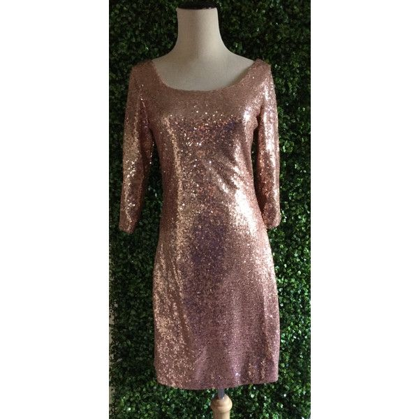Wedding Sample   Rose Gold Sequin Short Semi-Fitted Scoop Neck 3/4... ($79) ❤ liked on Polyvore featuring dresses, dark olive, women's clothing, sequin dress, sequin cocktail dresses, cocktail dresses, holiday cocktail dresses and short evening dresses