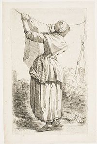 Woman Hanging out Laundry From the series of Six Studies of Men and Women (Zes studie-beeltjes, Naer 't leeven geteekend door J. Lauwers, en...