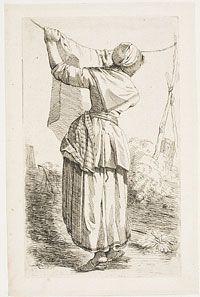 Woman Hanging out Laundry From the series of Six Studies of Men and Women (Zes studie-beeltjes, Naer 't leeven geteekend door J. Lauwers, en...