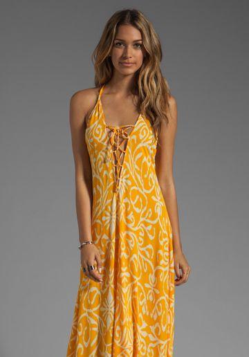 INDAH Satria T-Back Lace Up Maxi Dress in Antik Yellow at Revolve Clothing - Free Shipping!