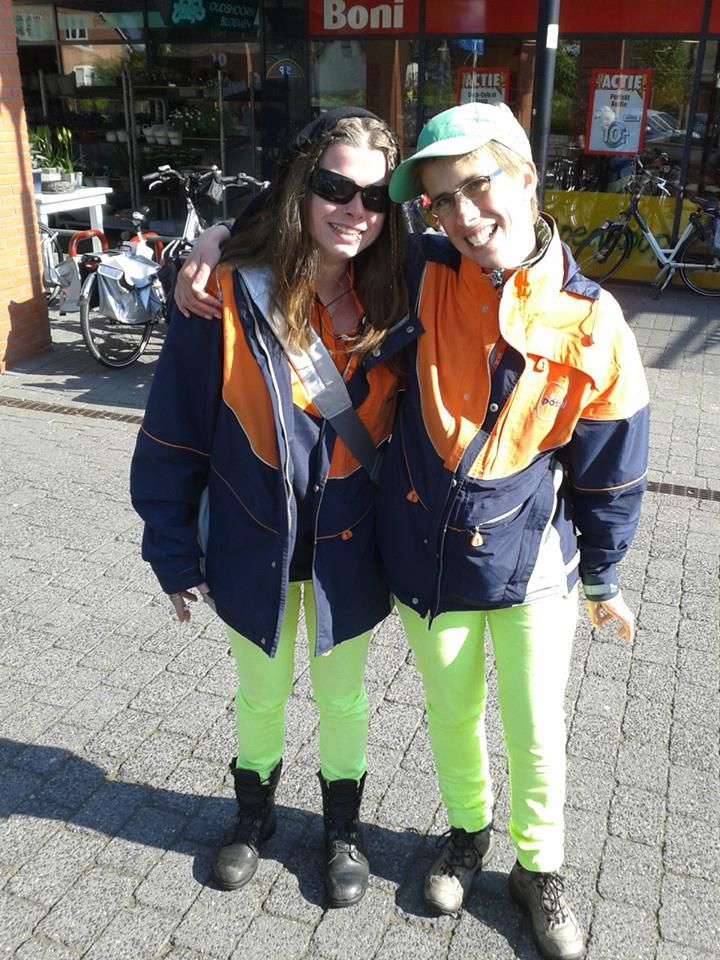Me and my colleague/friend marjoleine. Busy with our job as Mail/post-girls :)