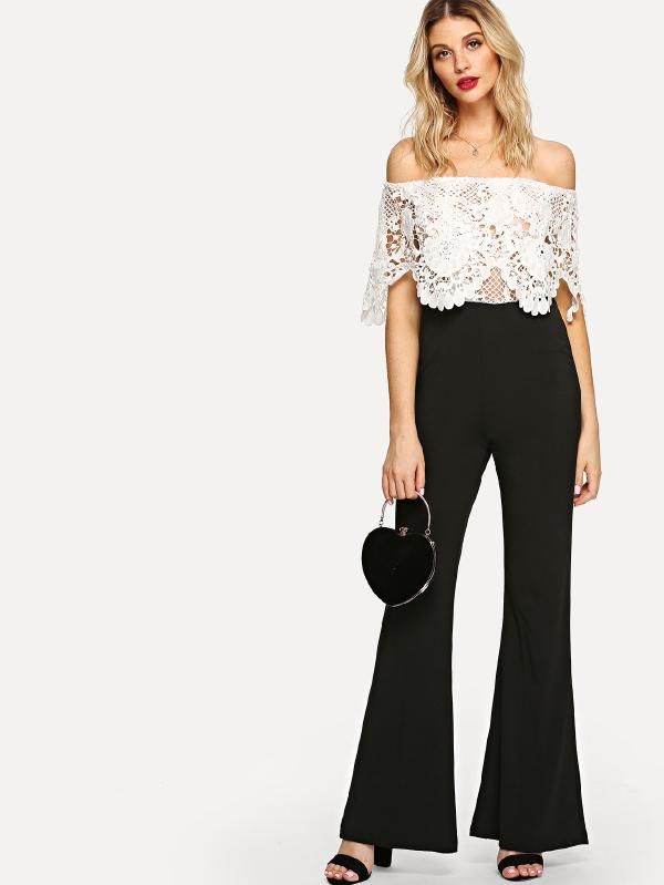 420858c2addb Lace Panel Off Shoulder Jumpsuit -SheIn(Sheinside)