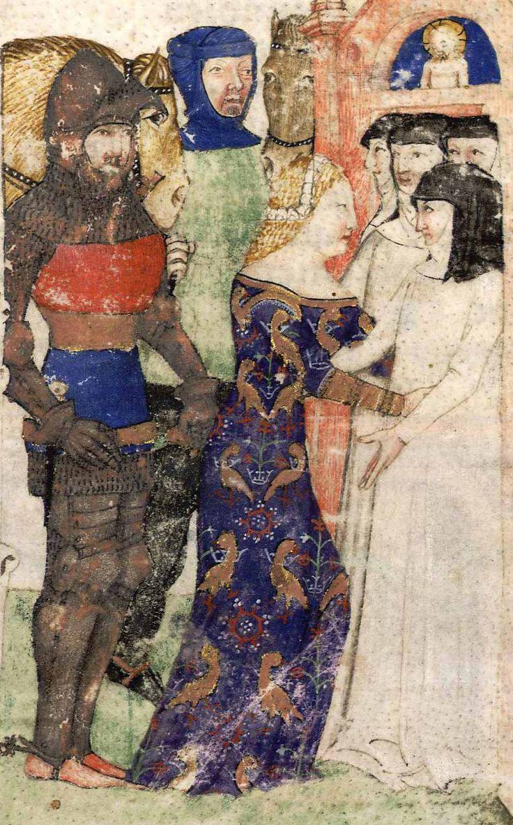 BNF Français 343 - Queste del Saint Graal / Tristan de Léonois Folio: 1r Location: Milan, Italy Dating: 1380 - 1385 Institution: Bibliothèque Nationale