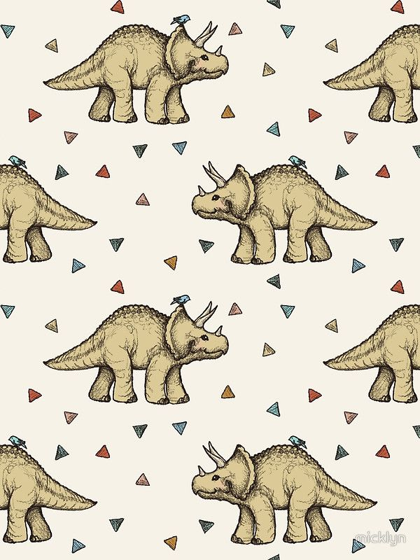 Triceratops & Triangles by micklyn le feuvre on Redbubble - Available on duvet covers & pillows - I want this for my little boy's room. : ) #dinosaur #pattern #illustration
