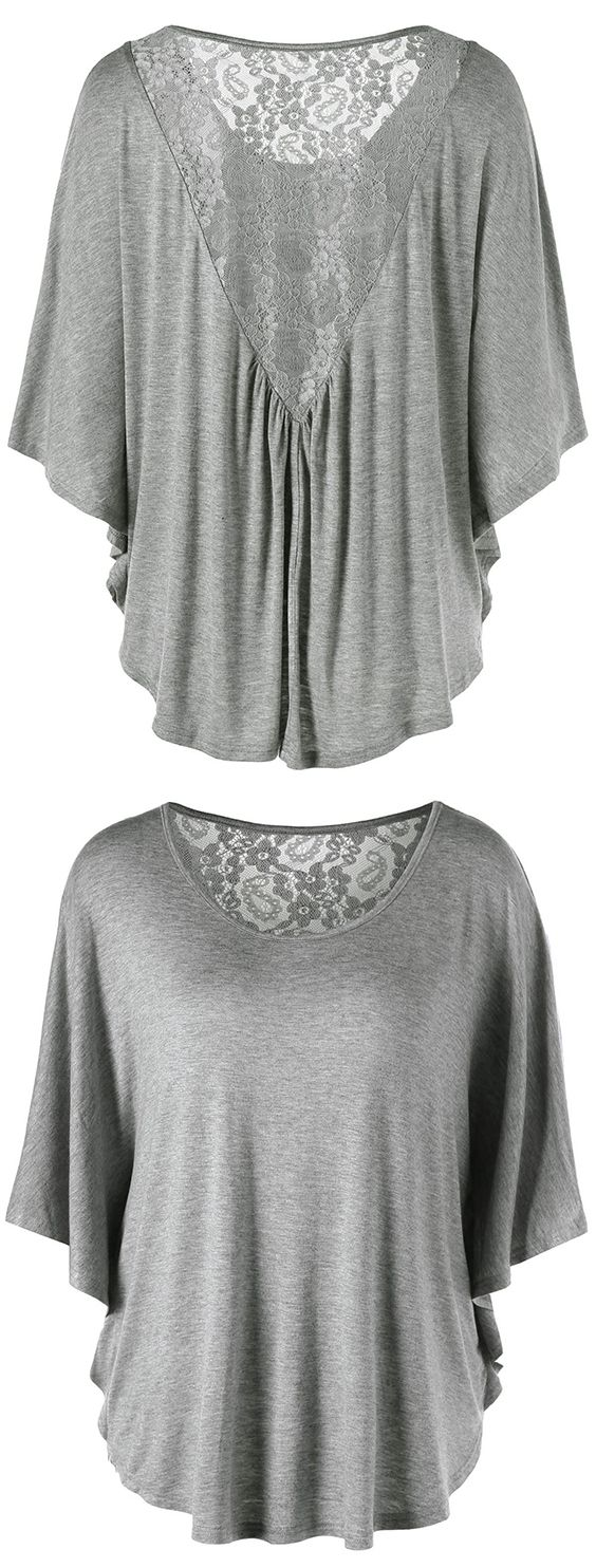 Design t shirt for cheap - Plus Size Butterfly Sleeve Lace Insert T Shirt