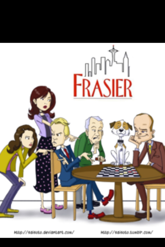 Frasier!!::::Kelsey Grammer(Fraiser), David Hyde Pierce(Niles), John Mahoney(Martin Krane the dad), Jane Neeves(Daphne), Roz(Peri Gilpin)