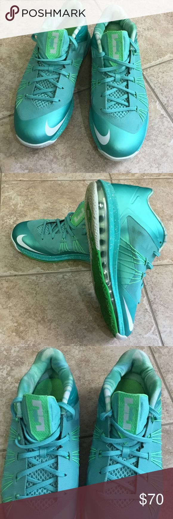 LEBRON X LOW EASTER SNEAKER Size 9 NIKE LEBRON James Men's low top sneaker Lace up closure padded tongue with LJ logo Cushioned sole....Teal Green Size 9 in Excellent Condition NIKE Lebron James Shoes Boots