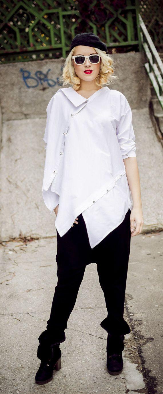 White Top / Plus Size White Cotton Shirt / Asymmetrical Loose Shirt TT33