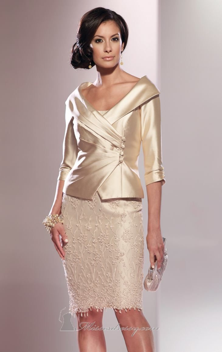 Be glamorous and alluring with Social Occasions by Mon Cheri 114808. This two piece cocktail dress is made of silk wool shantung and lace. The fitted bodice features a subtle sweetheart neckline while a scalloped hemline highlights the skirt. This dress comes with an elbow length sleeved jacket.