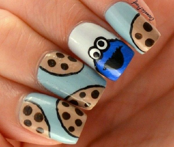 cookie monster nail art designs