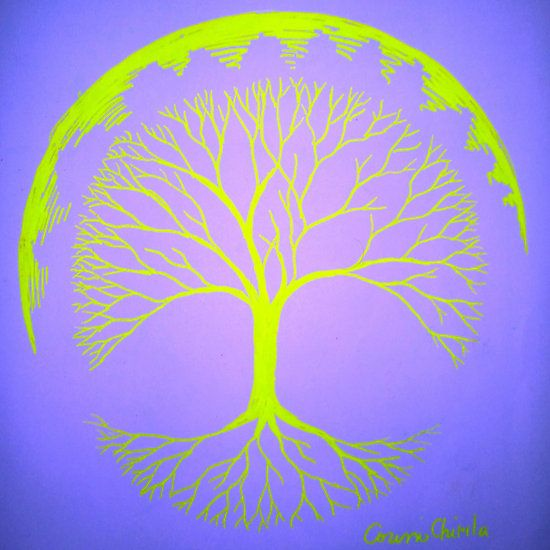 Fluorescent tree of life drawing