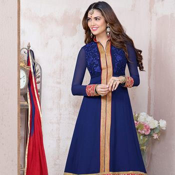 Blue Faux Georgette #Anarkali Churidar Kameez @ $46