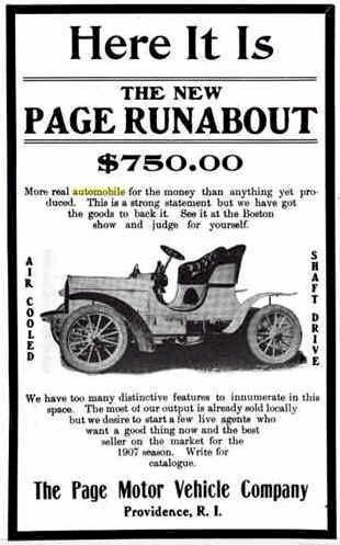 1906 Page Automobile Advertisement  The Page Motor Vehicle Co. Providence, RI