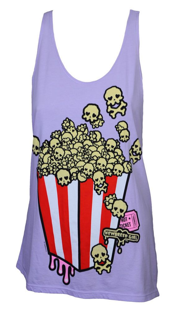 Newbreed Girl Skullycorn Tank Top Ladies Vest Emo,Kawaii,Japan,popcorn,skulls…