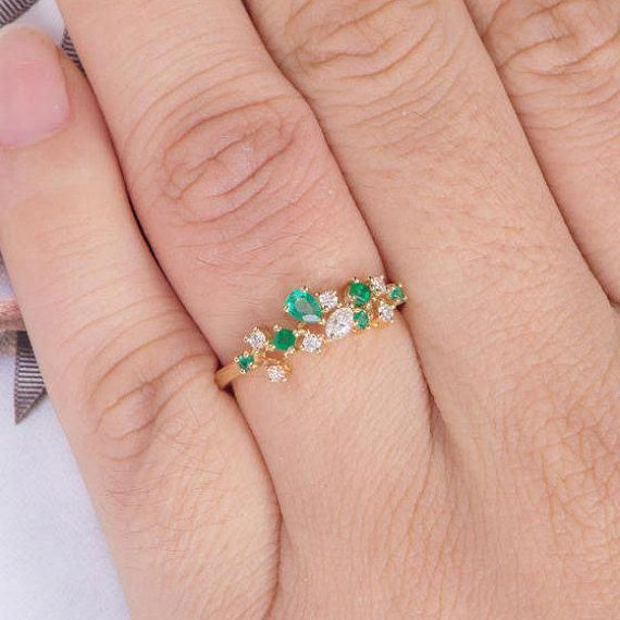 Diamond Cluster Ring Emerald Engagement Ring Yellow Gold Etsy Yellow Gold Wedding Band Unique Emerald Engagement Ring Yellow Yellow Engagement Rings