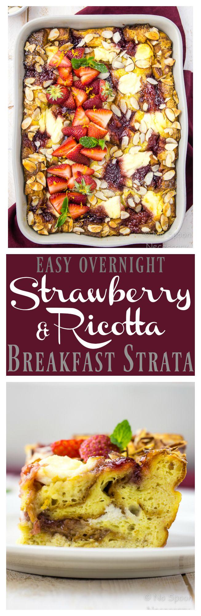 Easy Overnight Strawberry & Ricotta Breakfast Strata. [ad] #SayItWithHomemade #BonneMaman @BonneMamanPreserves
