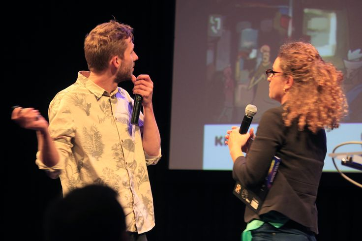 """The Winners of Filmteractive Market 2014 Evio award during their pitching session - """"The Reward"""" (Denmark)"""