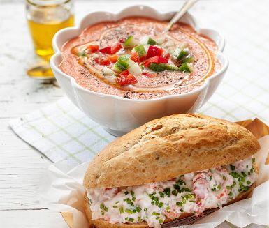 Recept: Gazpacho med kräftbaguette