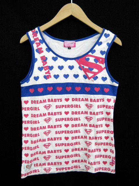 DREAM BABYS/ドリームベイビーズ タンクトップ ノースリーブカットソー ハート プリント 文字 青 ピンク 白 S 【中古】