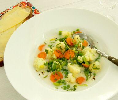 Ett enkelt och gott recept på husmanskost som uppskattas av både stora som små. Ängamat gör du av blomkål, morötter, purjolök och ärter. Severa grönsaksblandningen tillsammans med en ostsmörgås.