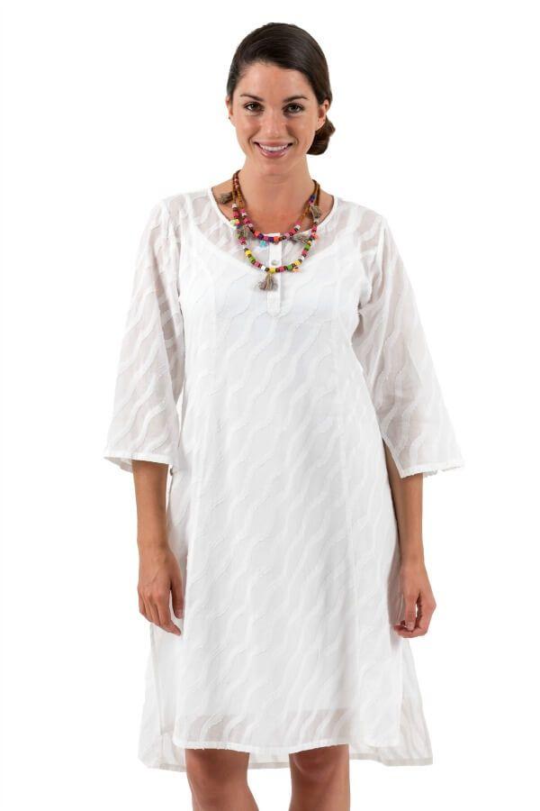 Spirituelle Cotton Dobby Shirt Dress White