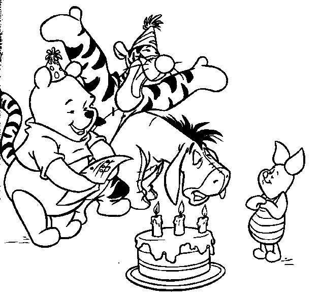 happy birthday pooh bear coloring pages | 76 best Winnie the Pooh Coloring Pages images on Pinterest ...
