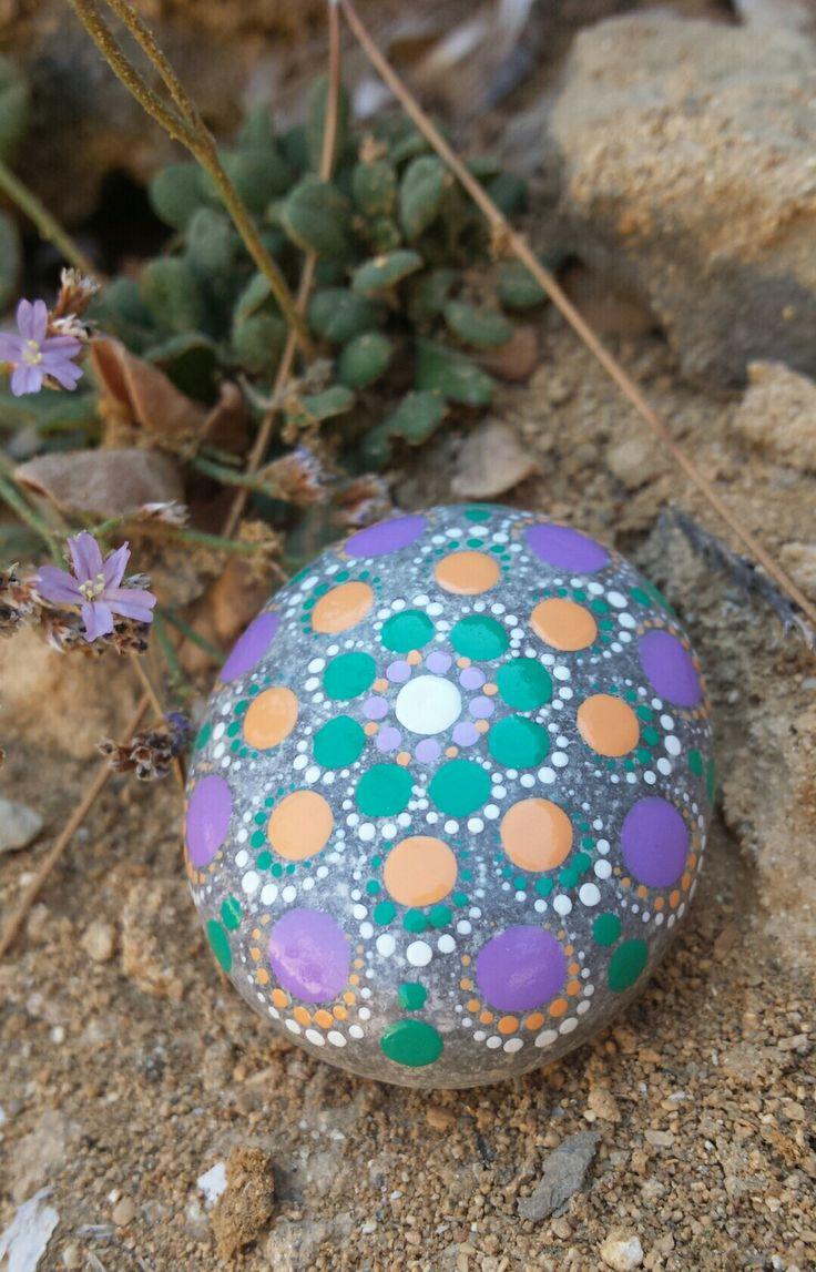 Hand painted stone mandala style dots