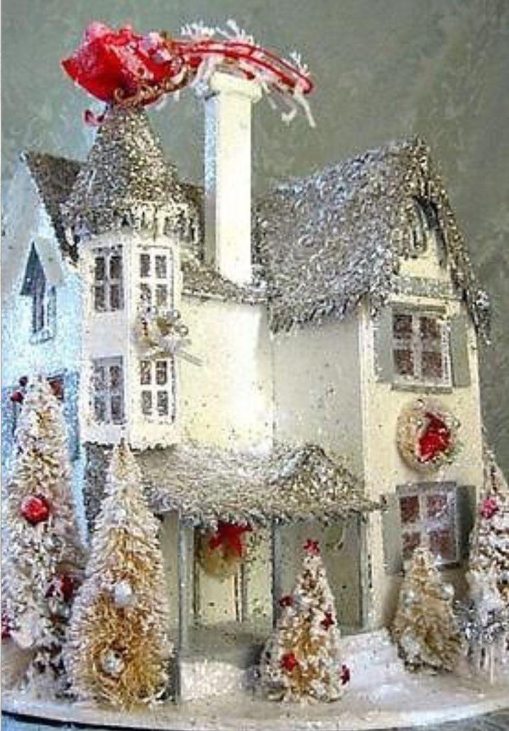 Putz Tudor House with a Christmas Eve