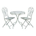 """Patio Vintage Themed Outdoor Table And Chair Set. Important Features:_Made of metal _Sizes: 28""""x28""""x29"""", 15""""x15""""x38""""A gorgeous set of furniture that belongs on the balcony of a charming Victorian manor as much as part of you"""