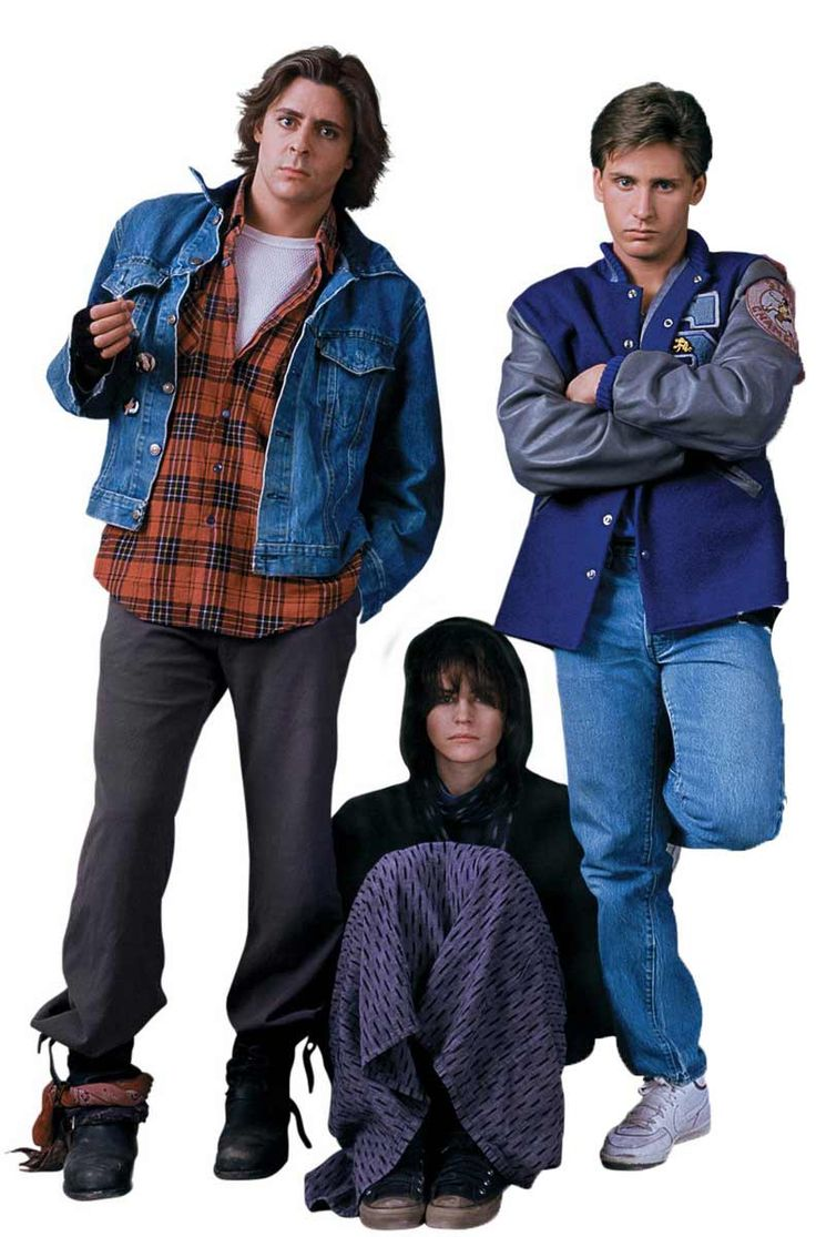 Judd Nelson as 'John Bender', Ally Sheedy as 'Allison Reynolds' & Emilio Estevez as 'Andrew Clark' in The Breakfast Club (1985)
