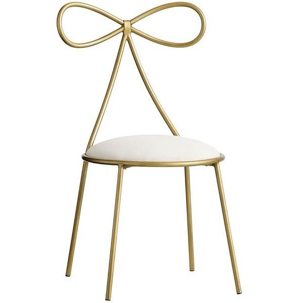 PB Teen The Emily & Meritt Bow Chair, Gold/Ivory ($269) ❤ liked on Polyvore featuring home, furniture, chairs, beige furniture, ivory chair, antique white chairs, gold furniture and gold chair