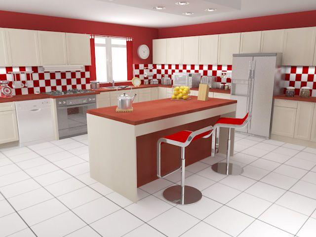 faience cuisine rouge et blanc - Faience Coloree Cuisine
