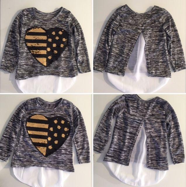 """Mädchen Sweatshirt mit """"streich"""" Herz aus Pailletten. Dieses Seweatshirt bekommst du in der Kinderboutique ZoeMi, Gerberstraße 41, Kempten"""