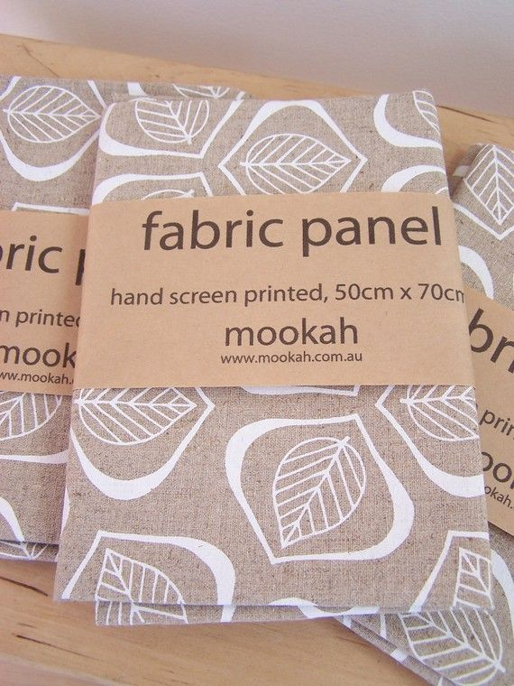 Leaves hand printed fabric in Chalk  50cm x 70cm by Mookah on Etsy, $22.00